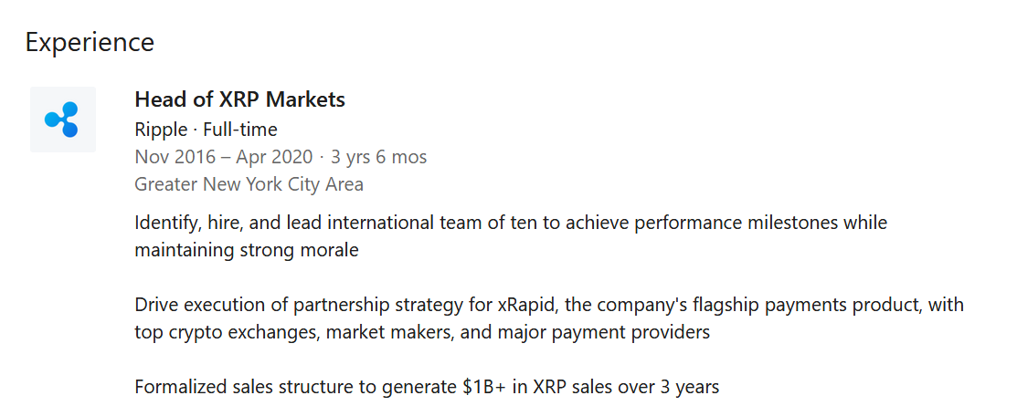 Miguel Vias' LinkedIn status shows the end of his 3.5 year tenure at Ripple